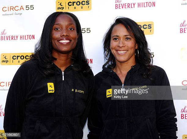 Annett Davis and Jennifer Johnson Jordan at the 2007 AVP Crocs Tour Launch Party at the Beverly Hilton in Beverly Hills Calif on Thursday March 29...