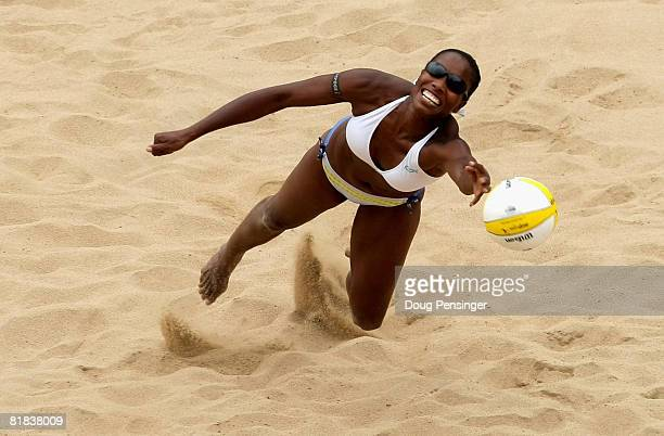 Annett Davis comes up short as she dives for a ball as Misty MayTreanor and Kerri Walsh defeated Annett Davis and Jenny Johnson Jordan in the Women's...