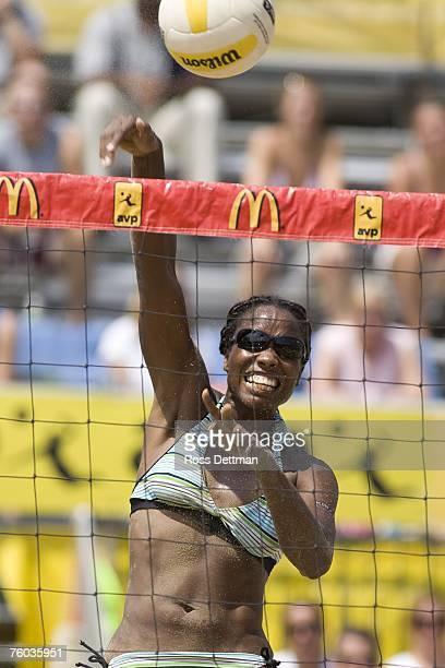 Annett Davis spike the ball during her semifinal match at the AVP Chicago Open on August 5 2007 in Chicago Illinois Jenny Johnson Jordan and Annett...