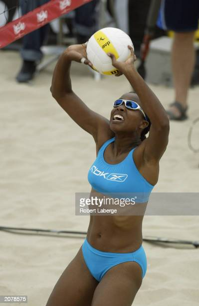 Annett Davis takes a shot with her partner Jenny Johnson Jordan during the Association of Volleyball Professionals Nissan Series Hermosa Beach Open...