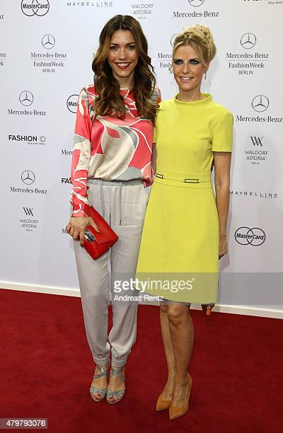 Annett Moeller and Tanja Buelter attend the Marc Cain show during the MercedesBenz Fashion Week Berlin Spring/Summer 2016 at Brandenburg Gate on July...