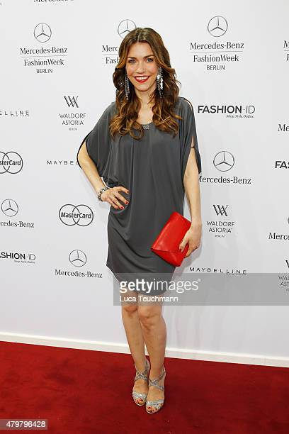Annett Moeller attends the Riani show during the MercedesBenz Fashion Week Berlin Spring/Summer 2016 at Brandenburg Gate on July 7 2015 in Berlin...