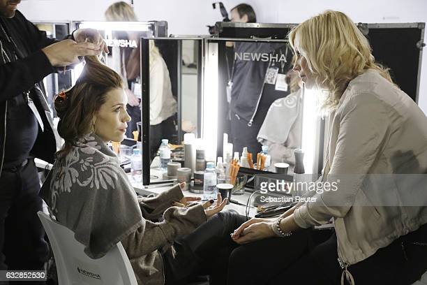 Annett Moeller is seen backstage ahead of the Breuninger show during Platform Fashion January 2017 at Areal Boehler on January 27 2017 in Duesseldorf...
