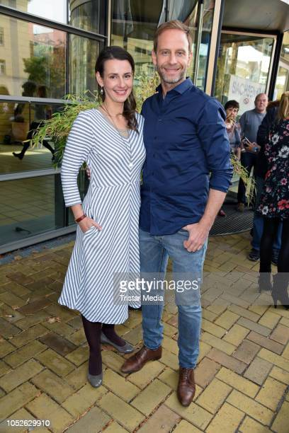 Annett Renneberg and Julian Weigend attend the ARD TV series 'In aller Freundschaft' 20 years anniversary fanfest at Media City on October 20 2018 in...