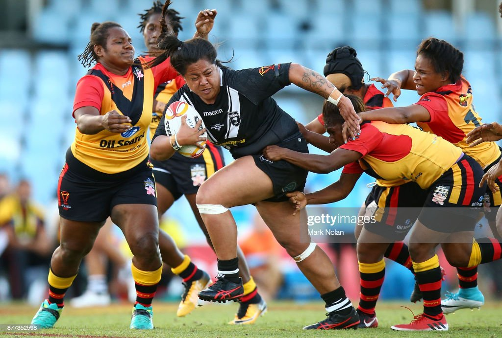 Annetta Nuuausala of the Ferns makes a line break during the Women's Rugby League World Cup match between the Kiwi Ferns and the Papua New Guinea Orchids at Southern Cross Group Stadium on November 22, 2017 in Sydney, Australia.