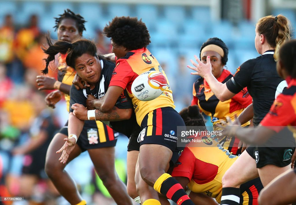 Annetta Nuuausala of the Ferns offloads during the Women's Rugby League World Cup match between the Kiwi Ferns and the Papua New Guinea Orchids at Southern Cross Group Stadium on November 22, 2017 in Sydney, Australia.