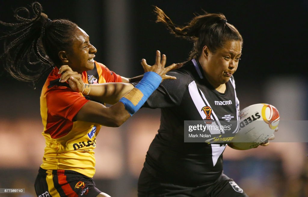Annetta Nuuausala of the Ferns runs the ball during the Women's Rugby League World Cup match between the Kiwi Ferns and the Papua New Guinea Orchids at Southern Cross Group Stadium on November 22, 2017 in Sydney, Australia.