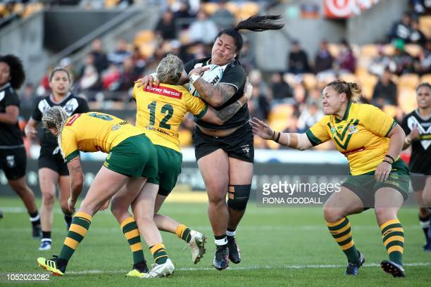 TOPSHOT Annetta Nuuausala of the New Zealand is tackled during the women's Trans Tasman rugby league international between New Zealand and Australia...