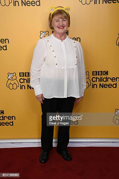 Annette Badland shows support for BBC Children in Need at Elstree Studios on November 18 2016 in Borehamwood United Kingdom