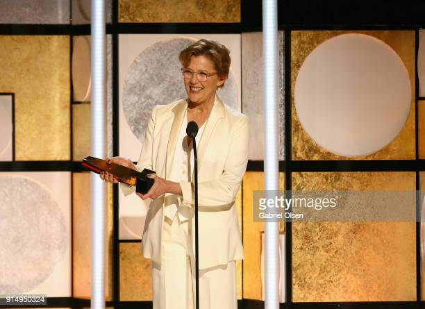 Annette Bening accepts the Best Actress award for Don't Die in Liverpool at AARP The Magazine's 17th Annual Movies For Grownups Awards at the Beverly...