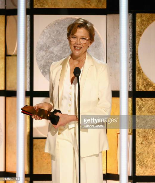 Annette Bening accepts the Best Actress award for Don't Die in Liverpool at AARP's 17th Annual Movies For Grownups Awards at the Beverly Wilshire...
