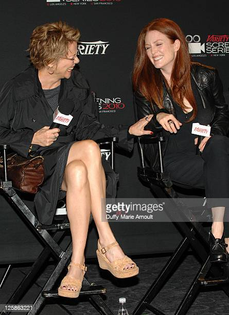Annette Bening and Julianne Moore attend Variety's Los Angeles Screening Series 'The Kids Are All Right' at ArcLight Cinemas on November 16 2010 in...