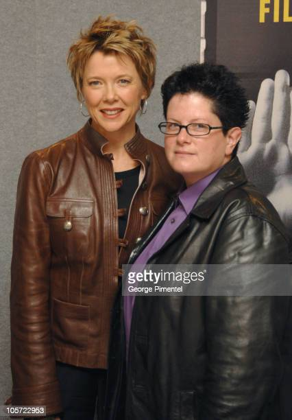 Annette Bening and Phyllis Nagy during 2005 Toronto Film Festival Mrs Harris Press Conference in Toronto Ontario Canada