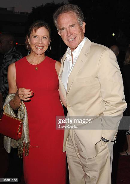Annette Bening and Warren Beatty arrives at the Los Angeles Premiere Of The Women at Mann Village Theater on September 4 2008 in Los Angeles...