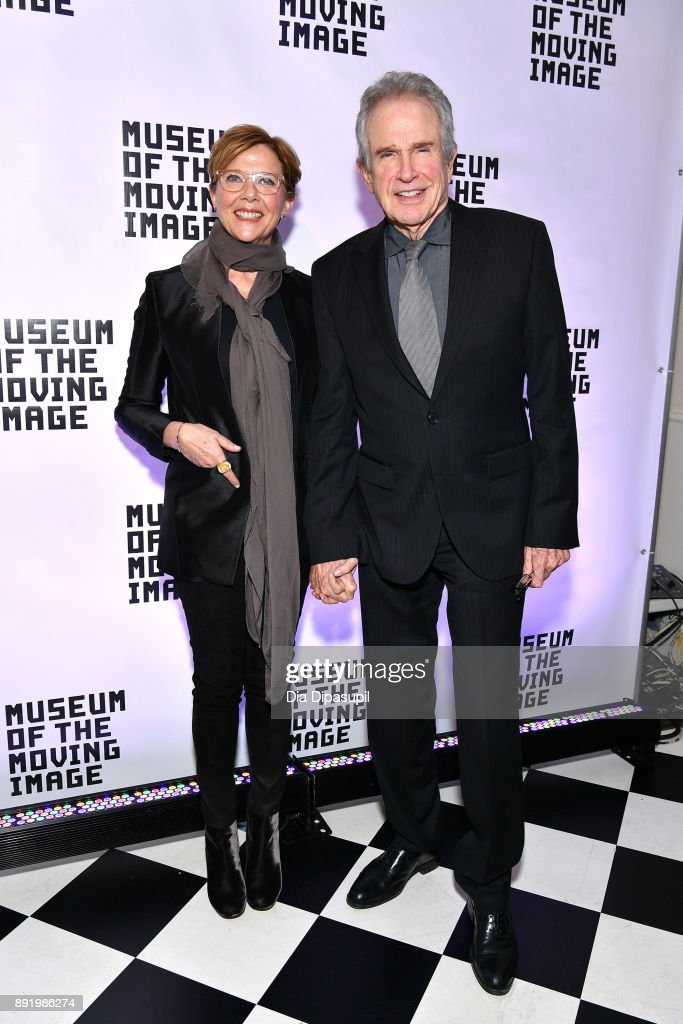 Annette Bening (L) and Warren Beatty attend the Museum of the Moving Image Salute to Annette Bening at 583 Park Avenue on December 13, 2017 in New York City.
