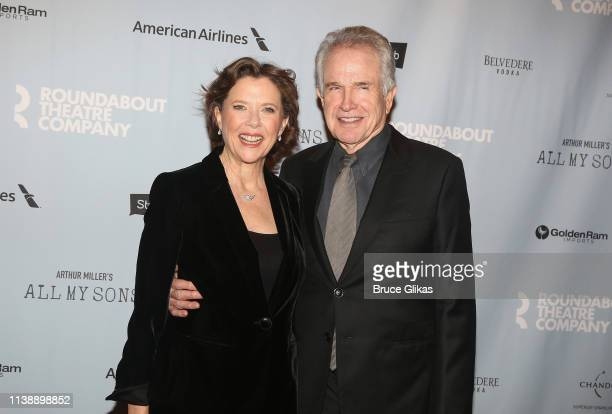 Annette Bening and Warren Beatty pose at The Roundabout Theater Company's production of Arthur Miller's All My Sons on Broadway at The American...