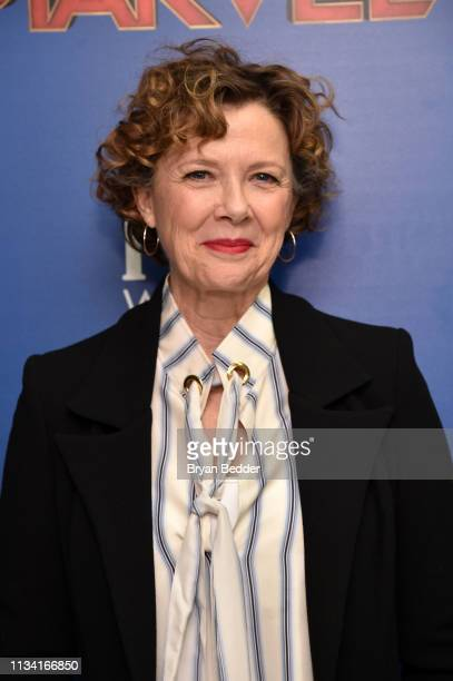 Annette Bening attends the FIJI Water with the Cinema Society host a special screening of Captain Marvel on March 06 2019 in New York City