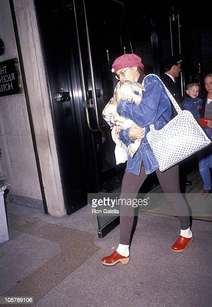 Annette Bening baby and nanny during Annette Bening Sighting at the Regency Hotel October 4 1994 at Regency Hotel in New York City New York United...