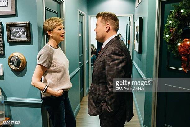 Annette Bening chats in the green room with James Corden during 'The Late Late Show with James Corden' Wednesday December 14 2016 On The CBS...