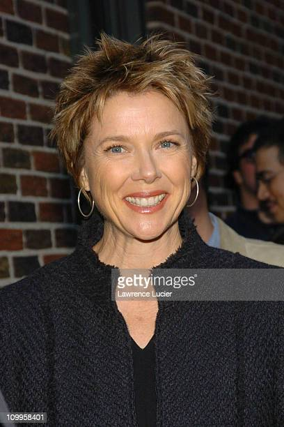 Annette Bening during Annette Bening Arrives at The Late Show with David Letterman October 5 2004 at Ed Sullivan Theater in New York City New York...
