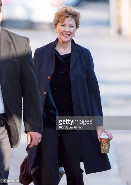 Annette Bening is seen at 'Jimmy Kimmel Live' on January 11 2018 in Los Angeles California