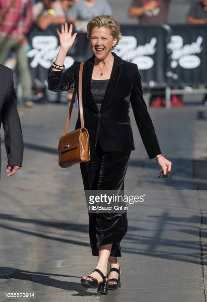 Annette Bening is seen at 'Jimmy Kimmel Live' on September 18 2018 in Los Angeles California