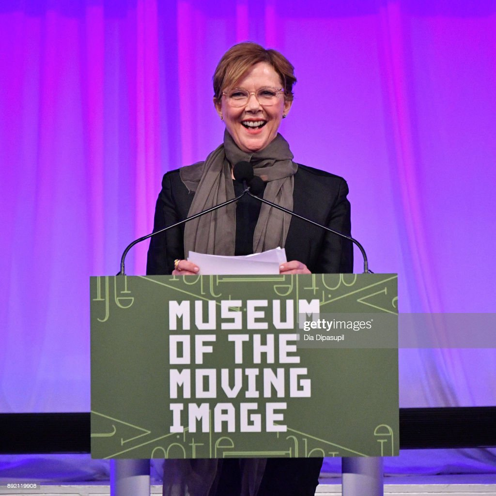 Annette Bening speaks onstage during the Museum of the Moving Image Salute to Annette Bening at 583 Park Avenue on December 13, 2017 in New York City.