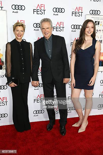 Annette Bening Warren Beatty and Ella Beatty arrive at a tribute to Annette Bening and gala screening of A24's 20th Century Women during AFI FEST...