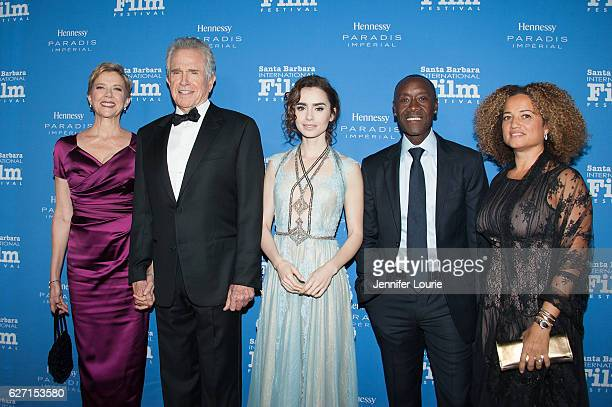 Annette Bening Warren Beatty Lily Collins Don Cheadle and Bridgid Coulter arrive at the Santa Barbara International Film Festival honors Warren...