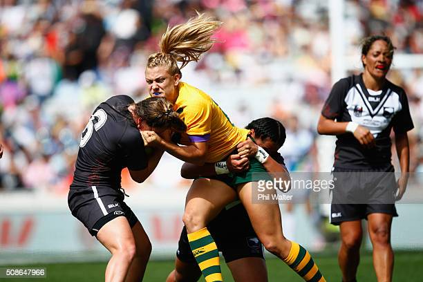 Annette Brander of the Australian Jillaroos is tackled during the 2016 Auckland Nines match between the Australian Jillaroos and the New Zealand...