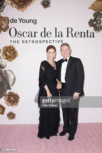 Annette De La Renta and Richard Benefield arrive at the Oscar De La Renta retrospective gala at the De Young museum on March 9 2016 in San Francisco...