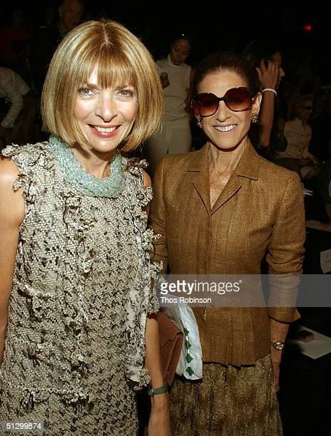 Annette De La Renta and Vogue Editor in Chief Anna Wintour attend the Oscar De La Renta Spring 2005 fashion show during the Olympus Fashion Week...