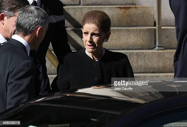 Annette de la Renta widow of Oscar de la Renta attends the funeral of fashion designer Oscar De La Renta at St Ignatius Of Loyola church on Park...