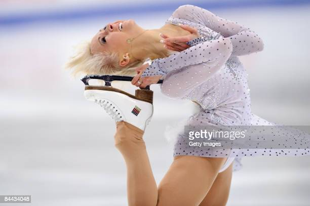 Annette Dytrt of Germany competing in the ladies free skating program during the ISU European Figure Skating Championship at the Hartwall Areena on...