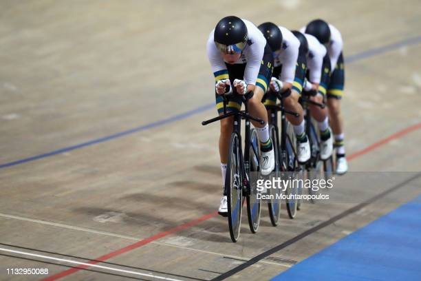 Annette Edmondson, Ashlee Ankudinoff, Georgia Baker and Amy Cure of Australia compete in the Women's Team Pursuit Finals on day two of the UCI Track...