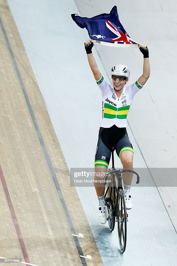 Annette Edmondson of Australia celebrates after the Women's Omnium Points Race as she takes the overall gold medal in the the Women's Omnium during day 5 of the UCI Track Cycling World Championships held at National Velodrome on February 22, 2015 in Paris, France.