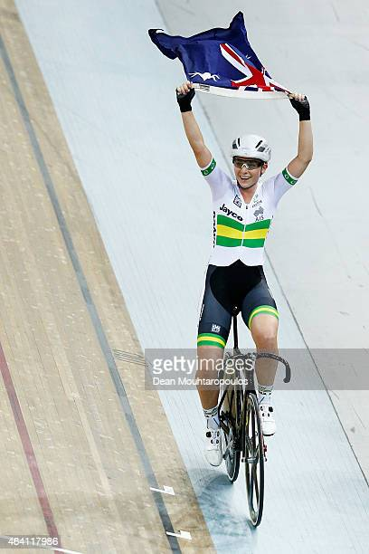 Annette Edmondson of Australia celebrates after the Women's Omnium Points Race as she takes the overall gold medal in the the Women's Omnium during...