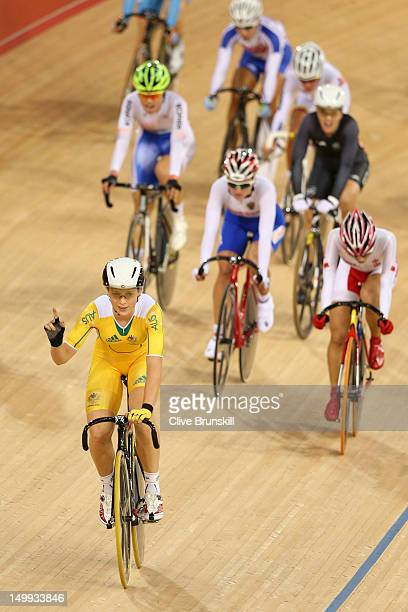 Annette Edmondson of Australia celebrates winning the Women's Omnium Track Cycling 10km Scratch Race on Day 11 of the London 2012 Olympic Games at...