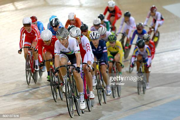 Annette Edmondson of Australia leads the field in the Womens Omnium during the 2015 UCI Track Cycling World Cup on December 6, 2015 in Cambridge, New...