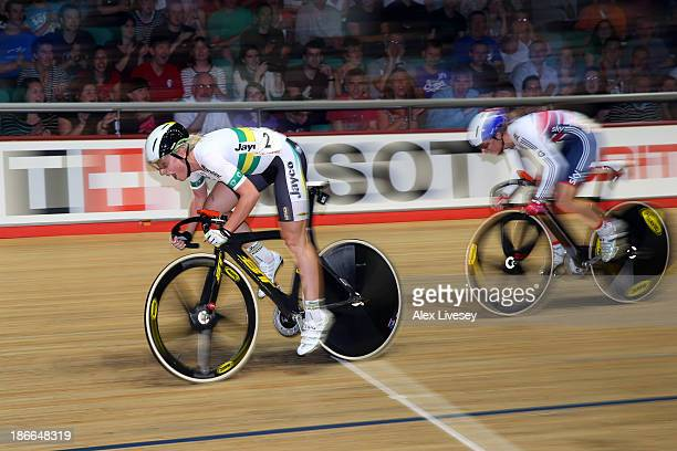 Annette Edmondson of Australia outsprints Laura Trott of Great Britain to win the Womens Omnium Elimination Race on day two of the UCI Track Cycling...