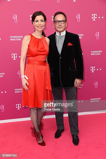 Annette Eimermacher and her husband attend the Telekom Entertain TV Night at Hotel Zoo on April 28 2016 in Berlin Germany