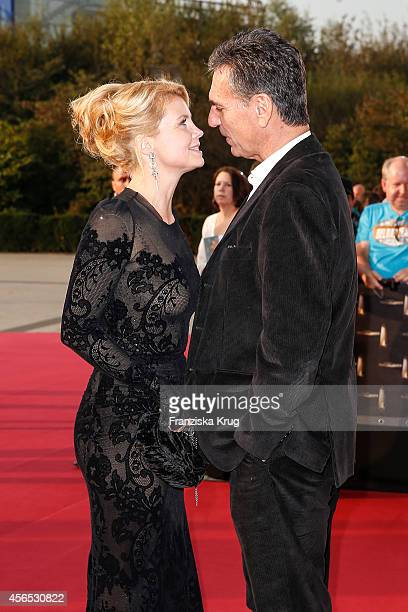 Annette Frier and Johannes Wnsche attend the red carpet of the Deutscher Fernsehpreis 2014 on October 02 2014 in Cologne Germany