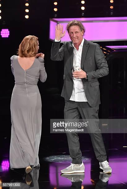 Annette Frier and Richard Huber during the Bayerischer Fernsehpreis 2016 show at Prinzregententheater on June 3 2016 in Munich Germany
