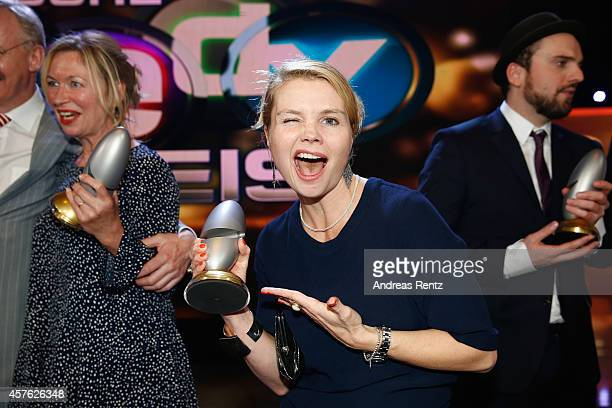 Annette Frier poses with her award during the 18th Annual German Comedy Awards at Coloneum on October 21 2014 in Cologne Germany The show will be...