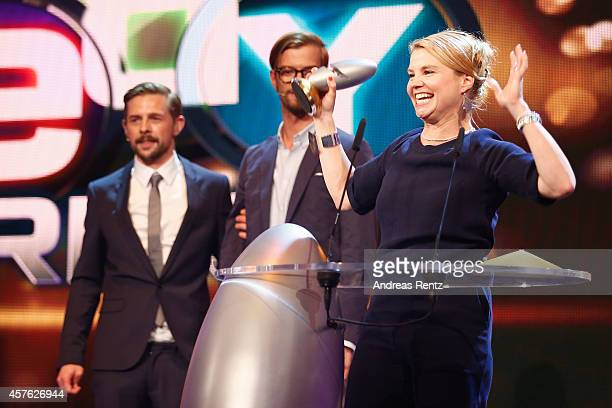 Annette Frier receives her award during the 18th Annual German Comedy Awards at Coloneum on October 21 2014 in Cologne Germany The show will be aired...