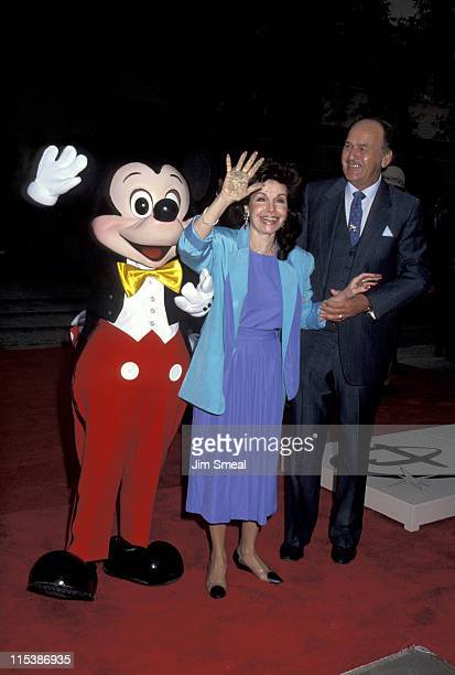 Annette Funicello and husband with Mickey Mouse during Disney Legends Awards at Walt Disney Studios in Burbank California United States