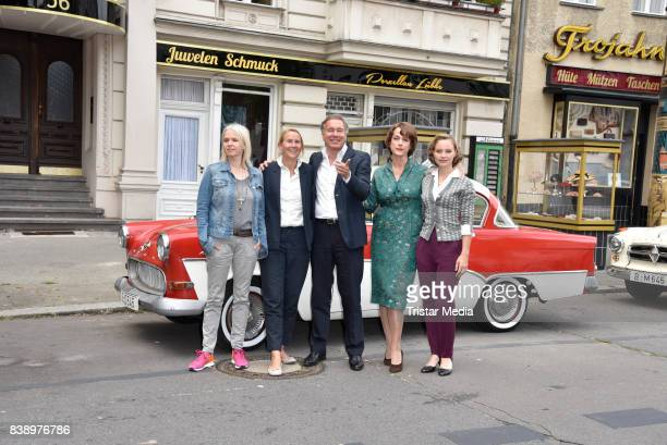 Annette Hess Heike Hempel Nico Hofmann Claudia Michaelsen and Sonja Gerhardt during a set visit of 'Ku'damm 59' on August 25 2017 in Berlin Germany