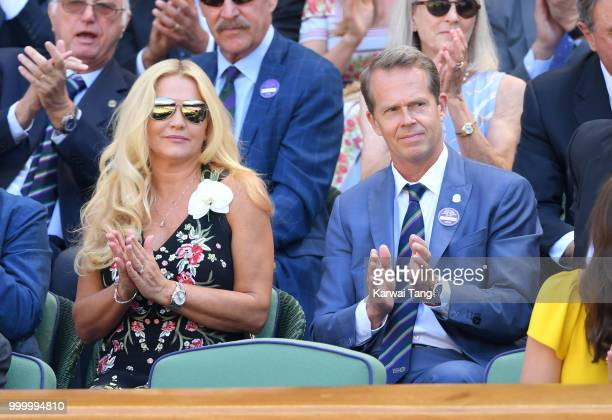 Annette Hjort Olsen and Stefan Edberg attend the men's single final on day thirteen of the Wimbledon Tennis Championships at the All England Lawn...