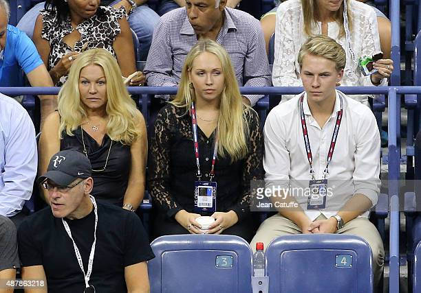 Annette Hjort Olsen Stefan Edberg's wife and their children Emilie Edberg and Christopher Edberg attend day twelve of the 2015 US Open at USTA Billie...