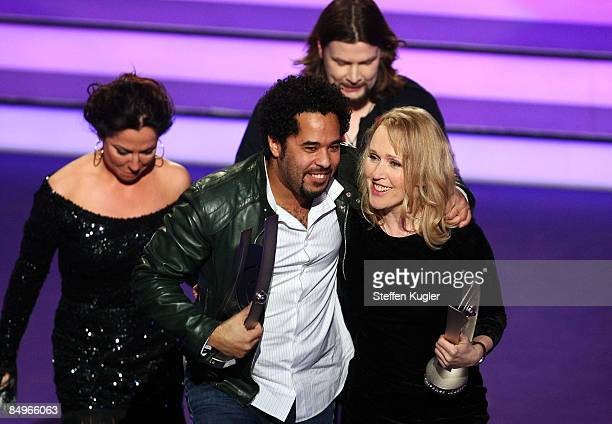 Annette Humpe and Adel Tawil of the band Ich Ich receive their awards at the 2009 Echo Music Award Show at the O2 Arena February 21 2009 in Berlin...